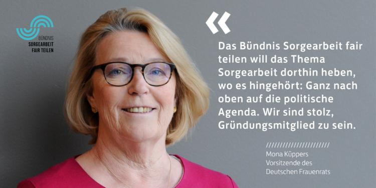 """Mona Küppers, Vorsitzende des Deutschen Frauenrats links. Rechts daneben Schrift mit den Worten """""""