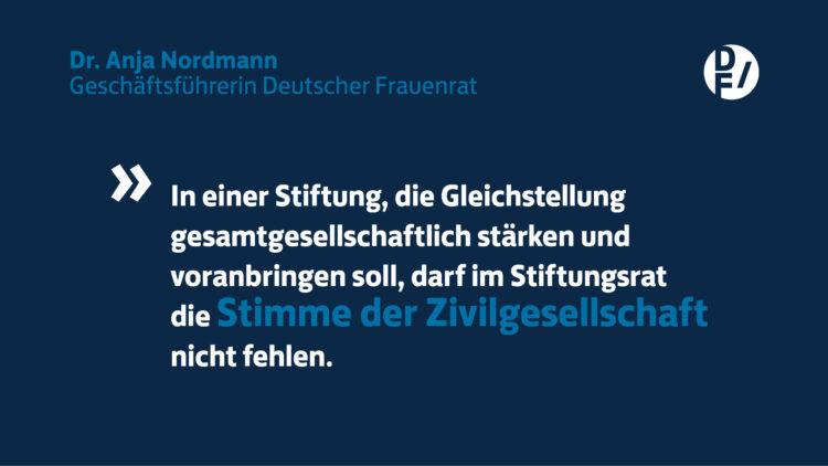 """Zitat Dr. Anja Nordmann Geschäftsführerin Deutscher Frauenrat: """"In einer Stiftung, die Gleichstellung gesamtgesellschaftlich stärken und voranbringen soll, darf im Stiftungsrat die Stimme der Zivilgesellschaft nicht fehlen."""""""